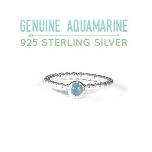 Moodtherapy Jewelry - Aquamarine Solitaire Beaded/Dotted Band Ring